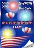 U.S. independence day July 4 with fireworks and balloons stock illustration