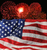U.S. Indicateur et feux d'artifice photos stock