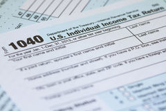 2013 U.S. Individual Income Tax Return 1040 IRS Tax Form Royalty Free Stock Images