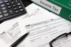 U.S. Individual income tax return. USA tax forms on desk stock photo