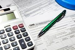 U S Individuell inkomstskattretur skatt 1040 Arkivbilder