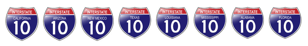 U. S. Interstate 10 Signs, California to Florida. United States Interstate 10 Signs, from California to Florida, with reflective-looking surface Vector Illustration