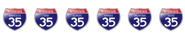 U.S. Interstate 35 Signs, Minnesota to Texas. United States Interstate 35 Signs, from Minnesota to Texas, with reflective-looking surface Stock Photography