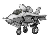 U S Korpusów Piechoty Morskiej F-35B błyskawicy II złącza myśliwa Strajkowa kreskówka royalty ilustracja