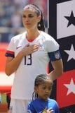 U S Kvinnors nationell kapten Alex Morgan #13 f?r fotbolllag under nationals?ngen f?r v?nlig lek mot Mexico royaltyfria bilder