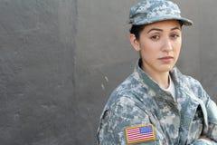U S Legermilitair, Sergeant Geïsoleerd dicht tonend spanning, PTSD of droefheid royalty-vrije stock fotografie
