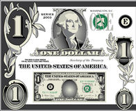 U.S. Éléments de billet d'un dollar Images stock