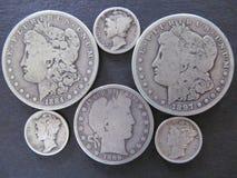 U S Lote da moeda da moeda de prata fotos de stock