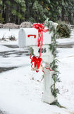 U.S. mailbox for correspondence. White box with a bell and red r Royalty Free Stock Photos