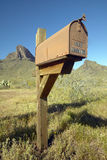U.S. Mailbox in the desert towers above Picacho Peak State Park, AZ Royalty Free Stock Photography