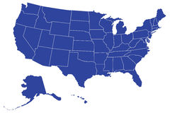 USA/United States Map (Separable Borders Vector). Separable borders; United States .eps map in blue, with borders of states.  Isolated against a white background Royalty Free Stock Images