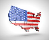 U.S. map with shadow effect on a gray background Stock Photography