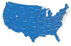 U.S.A. mapa de camino Imágenes de archivo libres de regalías
