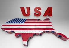 U.S.A. mapped flag in 3D illustration . USA. mapped flag in 3D Illustration politics and patriotism Stock Images