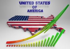 U.S.A. mapped flag in 3D illustration . Stock Photos