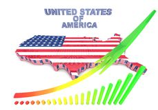 U.S.A. mapped flag in 3D illustration . USA. mapped flag in 3D Illustration politics and patriotism Royalty Free Stock Images