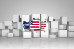 U.S.A maps with flag on cubes. U.S.A maps with flag on white cubes, 3d illustration Stock Image