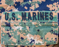 U.S. Marines badge on uniform pocket Royalty Free Stock Photography