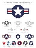 U S Militärischer nationaler Flugzeug-Stern Roundels, lokalisierte Vektorillustration lizenzfreies stockfoto