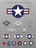 U.S. Military National Aircraft Star Roundels, distressed metal background with rivets, vector illustration. U.S. Military National Aircraft Star Roundels royalty free illustration