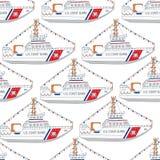 U S Modèle sans couture de bateau de jour de la garde côtière Photographie stock libre de droits