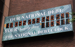 U.S. National Debt Clock. This was shot near Times Square, New York City on June 9, 2010. The National Debt Clock is a billboard-sized running total dot-matrix royalty free stock images