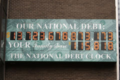U.S. National Debt Clock. This was shot near Times Square, New York City on November 25, 2010. The National Debt Clock is a billboard-sized running total dot Royalty Free Stock Photos