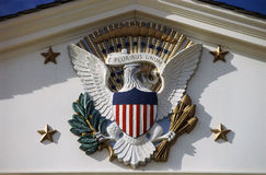 U.S. National Emblem. And Presidential Seal at Herbert Hoover Site, West Branch, Iowa Royalty Free Stock Photos