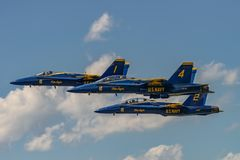 U.S.NAVY Blue Angles. NEW WINDSOR, NY - JULY 2, 2017: U.S.NAVY Blue Angles perform at the Stewart International Airport during the New York Airshow. Squadron is royalty free stock images