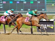 Jose Ortiz on U S Navy Cross. Horses are noses apart just past the sixteenth pole as U S Navy Cross beats Till Then, on the rail, in a thrilling finish at stock images