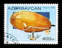 U.S. navy dirigible airship, 1917, History of Airships serie, ci. MOSCOW, RUSSIA - NOVEMBER 25, 2017: A stamp printed in Azerbaijan shows U.S. navy dirigible Royalty Free Stock Photos