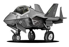 U.S. Navy F-35C Lightning II Joint Strike Fighter Aircraft Cartoon stock image