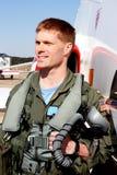 U.S. Navy Fighter Pilot. Navy aviator piolet in full flight gear before Stock Image