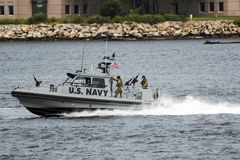 U.S Navy patrol boat in the Long Island Sound Stock Images