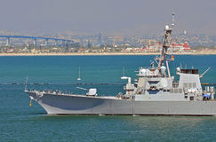 U.S. Navy Warship returns to Port. A U.S. Navy Guided Missile Destroyer returns to San Diego Harbor stock image