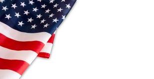 U.S.A. o bandiera dell'America isolata su fondo bianco Fotografia Stock Libera da Diritti