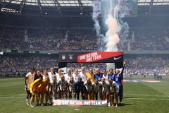 U S O campeonato do mundo Team Send-Off Celebration das mulheres para o campeonato do mundo de 2019 mulheres na arena de Red Bull foto de stock
