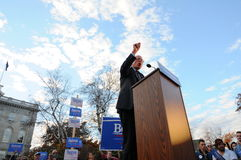 U S O senador Bernie Sanders fala na concórdia, NH, EUA, o 5 de novembro de 2015 Fotos de Stock