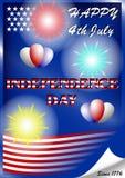 U S onafhankelijkheid dag 4 Juli met vuurwerk en ballons stock illustratie