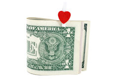 U.S. one dollars with symbol of heart Royalty Free Stock Images