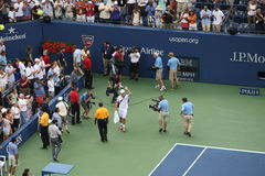 U. S. Open Tennis - Andy Roddick Retirement. After losing the final match of his career to Juan Martin del Potro of Argentina, a retiring Andy Roddick leaves Stock Photo