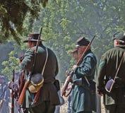 U.S. Os atores da guerra civil que retratam a união Sharpshoot Fotografia de Stock