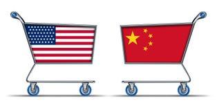U.S.A. Os chineses americanos de China trocam o mercado ilustração royalty free