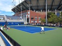 U S Ouvrez le tennis - cours latérales Images libres de droits