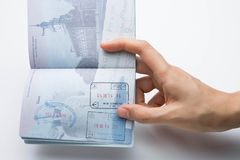 U.S. passport with Schengen and U.S. stamps Stock Photos
