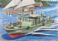 U.S. patrol boat inspections Vietnamese junks Stock Images