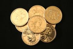 U.S. Or pièces de monnaie de l'un dollar Images libres de droits
