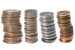 U.S. piles de pièces de monnaie photos stock