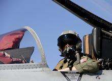 U S Piloto de caza en un avión de combate foto de archivo libre de regalías