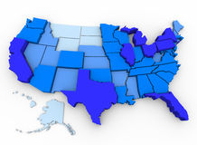 U.S. Population - Map of Most Populated States Stock Photo